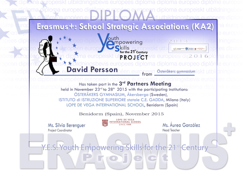 Diploma, 3rd Mobility Meeting, Spain