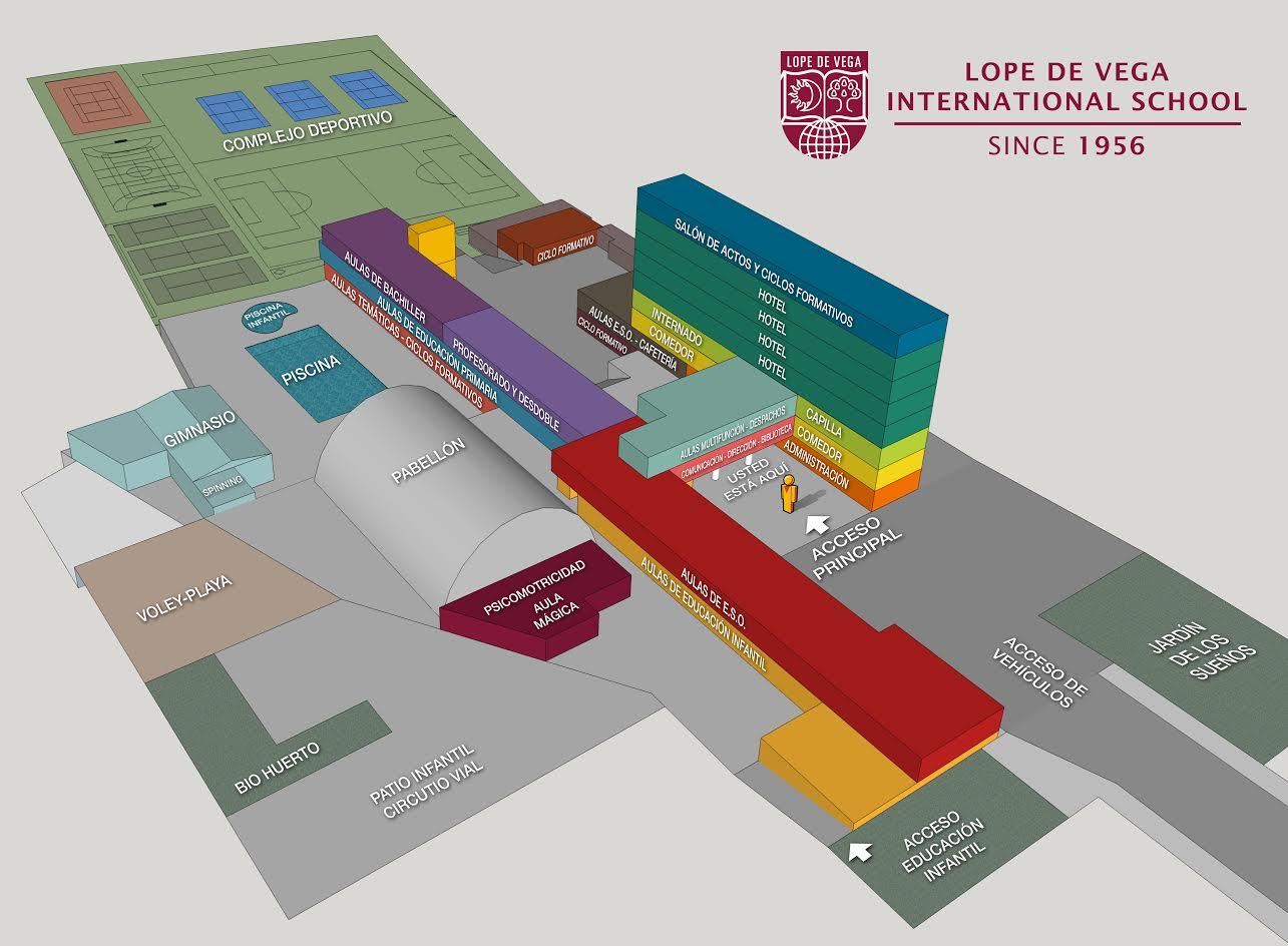 Plano del Colegio Internacional Lope de Vega donde se muestran todas las instalaciones